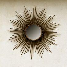 Grand miroir soleil Chaty Vallauris, France années 50,  miroir plat