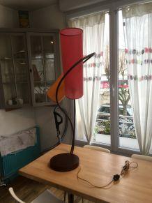 Superbe Lampe double fer forgé forme végétale inspiration art-déco art-nouveau