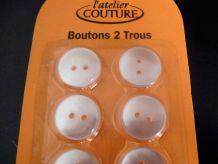 Lot De 6 Boutons 2 Trous En Plastique Blanc-Diamètre 17mm- Neuf-DMC