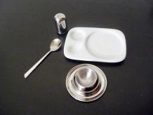 Set 4 Pièces Pour Le Petit Déjeuner En Porcelaine Et Métal Argenté- Neuf- Casa