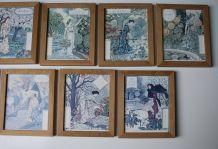9 cadres illustrations art nouveau