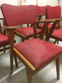Chaises Années 60 rouge