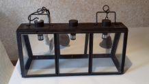 Lustre rectangulaire industriel 3 ampoules