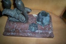 ENCRIER ANCIEN 1930 oiseaux régule et marbre
