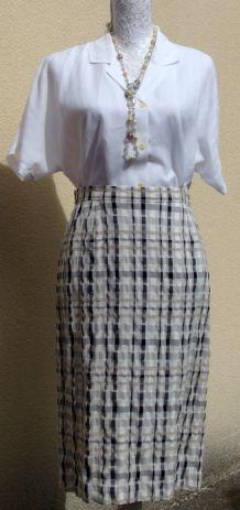 Jupe vintage PierBé beige motifs sable et bleu 10% lin T38