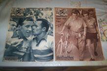 LOT 2 ANCIEN MIROIR DES SPORT velo DE 1956