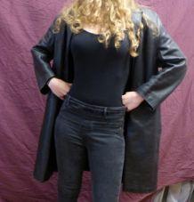 Long manteau cuir noir