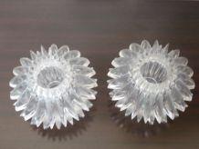 Lot de 2 petits bougeoirs 70's, plexiglas transparent , oursins