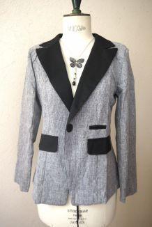 Veste blazer gris noir cintré ajusté bicolore col femme taille 38 40