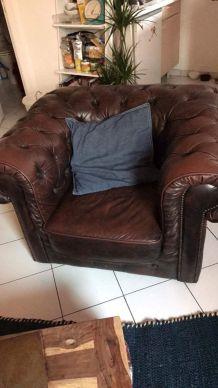 Vend fauteuil chesterfield d'origine