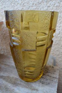Vase Style Bohémien Art Déco Jaune en Verre Cristal