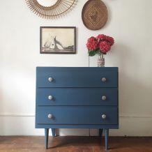 Commode vintage en bois bleu foncé  metal