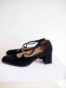 Escarpins cuir suédine bout carré vintage 80's 90's