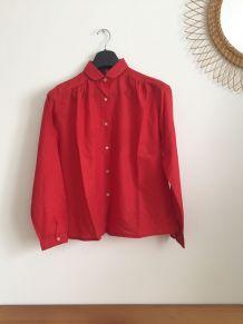 Chemise vintage rouge col Claudine années 70
