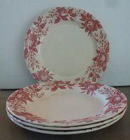 4 assiettes plates fleuries vintage