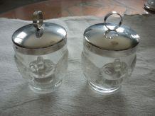 Lot de 2 cuits oeufs en verre moulé