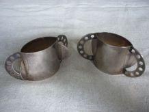 2 ronds de serviette metal argente design