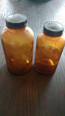 flacons d'apothicaire en verre ambré- lot de 4-