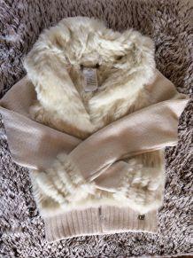 Veste fourrure de lapin tricoté