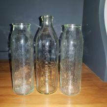 Lot de 3 biberons verre
