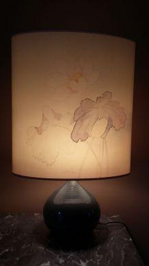 Lampe en ceramique avec abat jour en soie