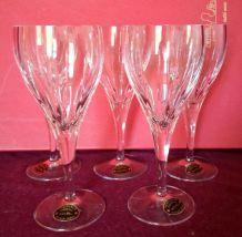 Suite de 5 verres à vin en cristal de Lorraine