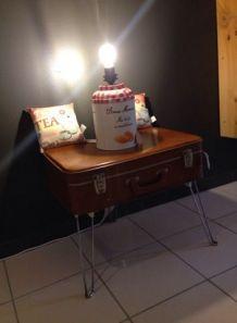 Table de chevet valise vintage
