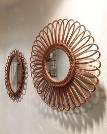 Miroir en rotin vintage