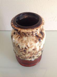 Vase vintage style scandinave / rouge et beige