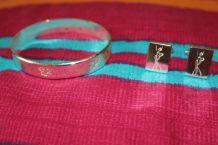 lot bracelet jonc rond effet argente + bouton de manchette