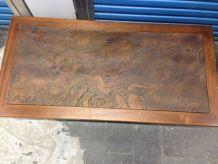 Table basse en bois et pierre