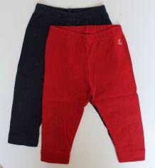Lot de deux leggings Petit Bateau rouge et marine 12 mois