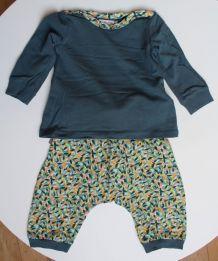 Ensemble mixte saroual et t-shirt motifs feuilles 6 mois