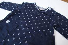 Pyjama / grenouillère marine à ancres Grain de blé 1 mois