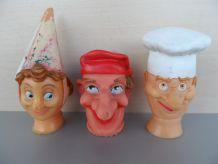3 Têtes de marionnettes caoutchouc 1950