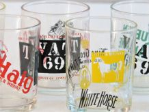6 verres à whisky vintage :  King Georges IV/White Horse/Black & White/Canadian Club - Queen Anne/Vat 69/Haig/White Label - Haig/Long Jones/Vat 69/Ballantines