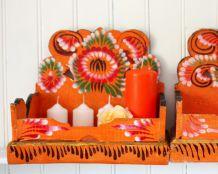 Présentoir à offrandes, boite en bois peint et décoré Made in Bali