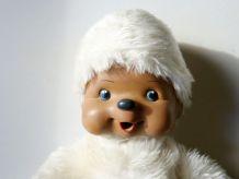 Ancienne Peluche Singe Kiki blanc Vintage , Collector années 80