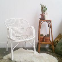 Fauteuil corbeille blanc vintage