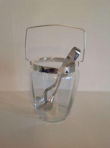 Seau à glaçons en verre à facettes avec sa pince