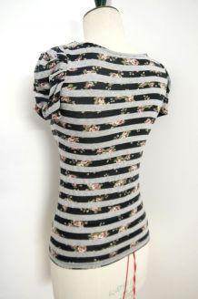 Tshirt top haut rayure gris fleur rose noir manches boules coton
