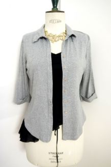 Gilet chemise gris souris vintage coton manche 3/4