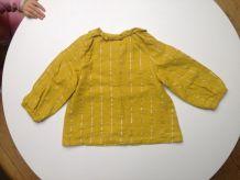 Blouse Tape à l'œil fille 18 mois jaune moutarde et argent