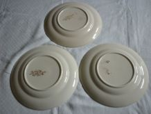 3 assiettes en faience de Longchamp