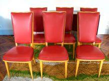 Série de six chaises en skai rouges vintages