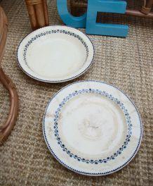 2 plats porcelaine opaque Gien modèle Ephémères