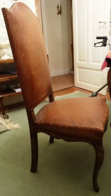 Six  chaises  bois et cuir, début XXe