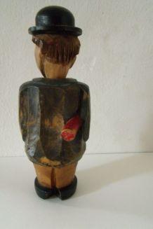 ancien tire-bouchon en bois sculpté anthropomorphe Humoristique corkscrew