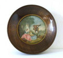 ancienne gravure sous verre cadre rond en bois la leçon de musique de Lancret