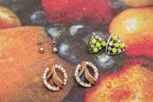 lot boucles d'oreilles chaussure style cendrillon diamant